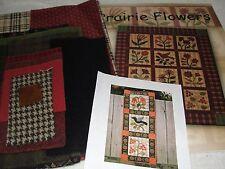 "PRAIRIE FLOWERS Wool Applique Wall Hanging Quilt Kit & Book Jo Morton 9x29"""