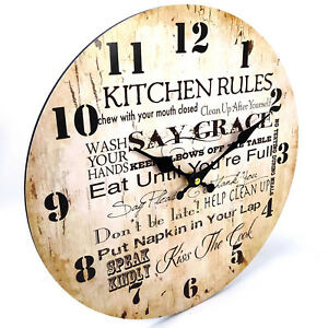 Kitchen-Cook-Rules-New-Home-Wall-Clock-Kitchen-Large-34cm-Rustic-Look-AA