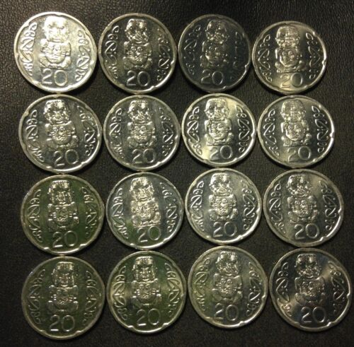 16 GREAT COINS FREE SHIP Old New Zealand Coin Lot 20 CENT Cool Design
