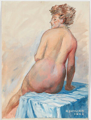 "Remigius Geyling (1878-1974) ""Female Nude"", Large Watercolour, 1943"