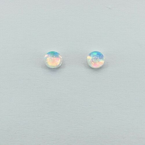 Post Earrings 925 STERLING SILVER #1 Inlay FIRE OPAL 4mm Blue Round Stud
