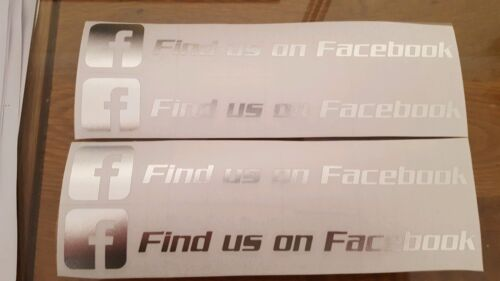 FACEBOOK FIND US ON DECALS STICKERS X4 CHROME SILVER NORM//RE WINDOW 2019 TRACK D