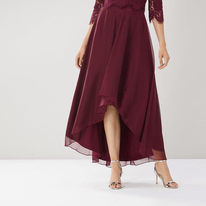 Coast April Organza High Low Merlot Skirt Größes UK 16 - 18