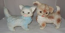 Vintage Edward Mobley Blue Cat & Spotted Dog Squeak Toys Arrow Rubber Sleep Eyes
