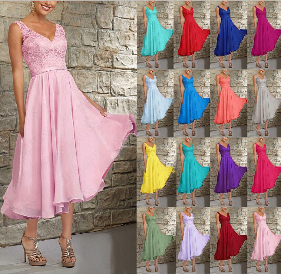 New Tea Length Evening Dress Bridesmaid Dress Formal Party Prom Dress Size 6-18