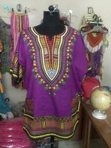 Stampa africana Dashiki Top Boohoo Festival unisex taglia 8 - 24 100% COTONE UK Venditore  </span>