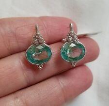$400 Judith Ripka Sterling Silver La Petite Oval Paraiba Spinel Earrings