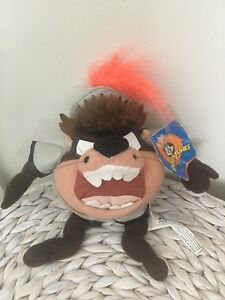 Looney-Tunes-Tasmanian-Devil-Gladiator-Soft-Toy-Great-condition-with-tags