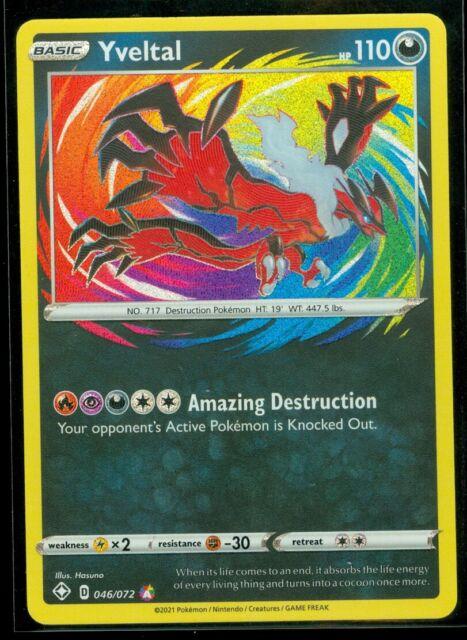 Pokemon YVELTAL 046/072 Shining Fates - AMAZING RARE HOLO - - MINT