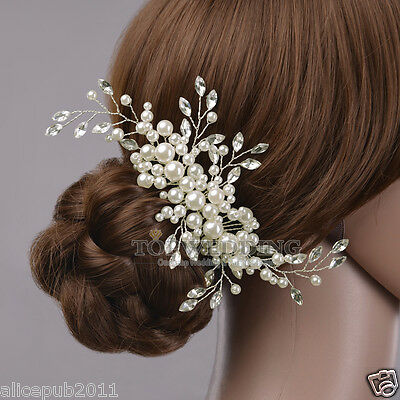 Gorgeous Wedding Bridal Jewelry Pearl & Crystal Beautiful Hair Comb Headpiece