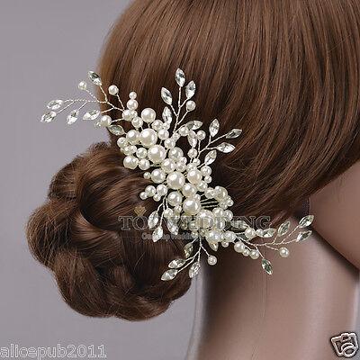 Gorgeous Wedding Bridal Jewelry Pearl & Crystal Beautiful Hair Comb Headpiece