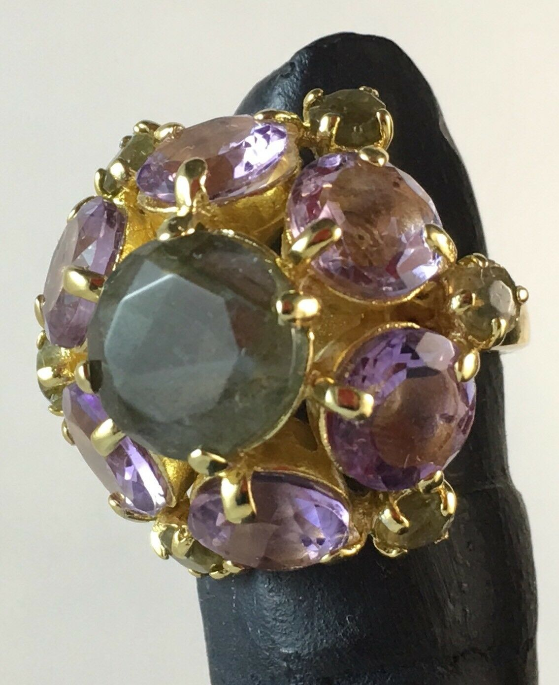 BELLEZZA  FLOWER GEMSTONE Amethyst & Labradorite Bronze Cluster Ring Sz 7