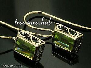 E158-Genuine-9ct-Gold-Emerald-cut-Natural-Amethyst-Garnet-Peridot-Topaz-Earrings