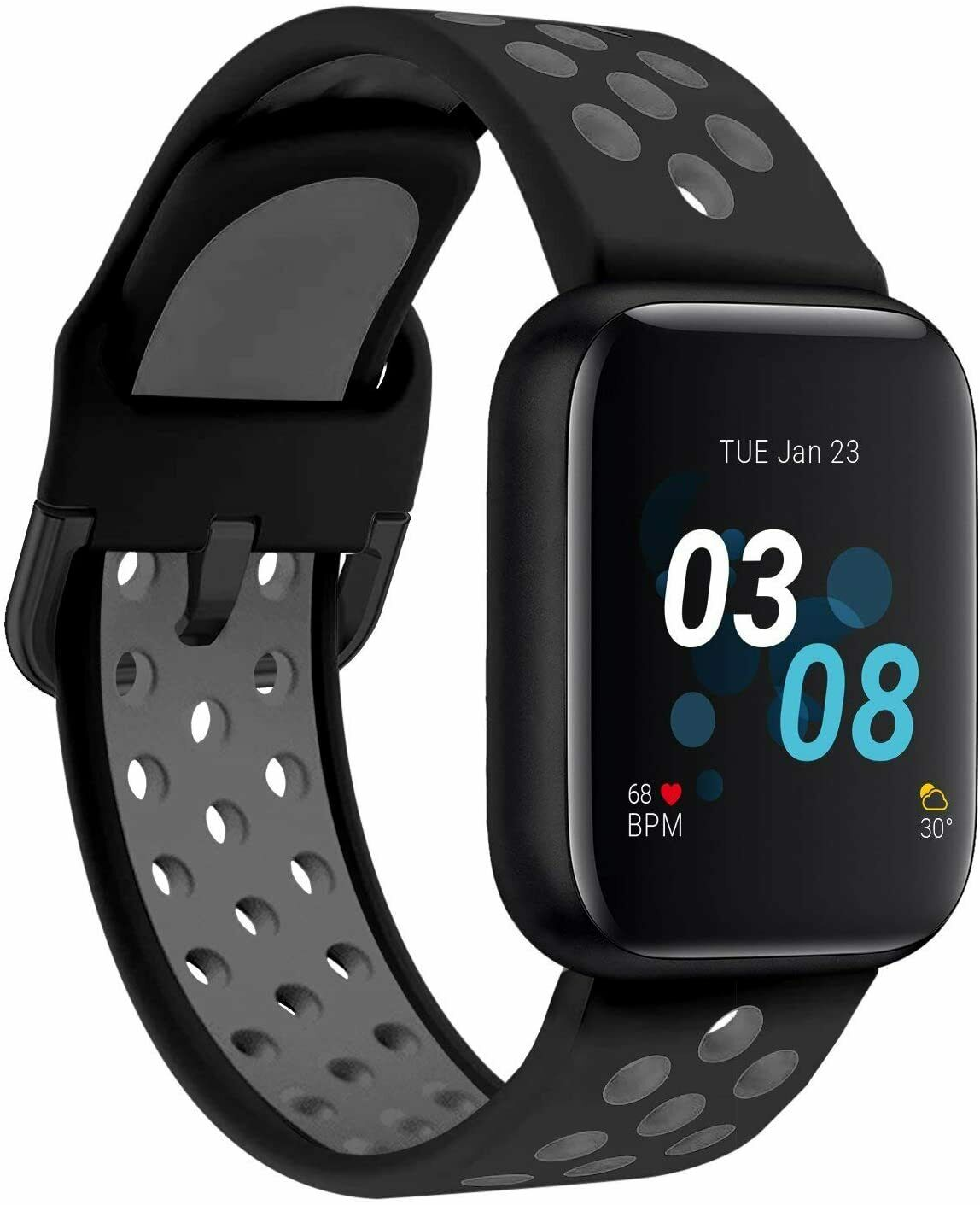 iTouch Air 3 Smartwatch Fitness Tracker, Heart Rate, 44mm, Black/Grey Perf