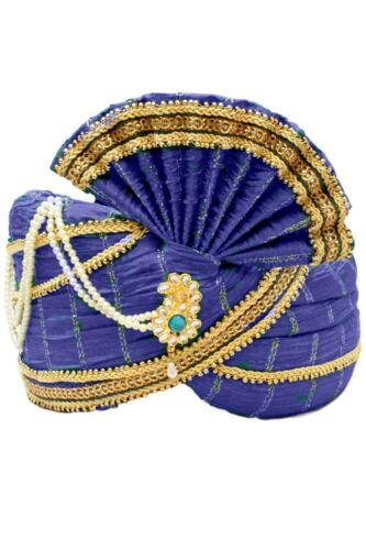 SAFA Matrimonio pagri Bollywood Cappello MPG7000 Blue /& GOLD Indiano Maharaja turbante