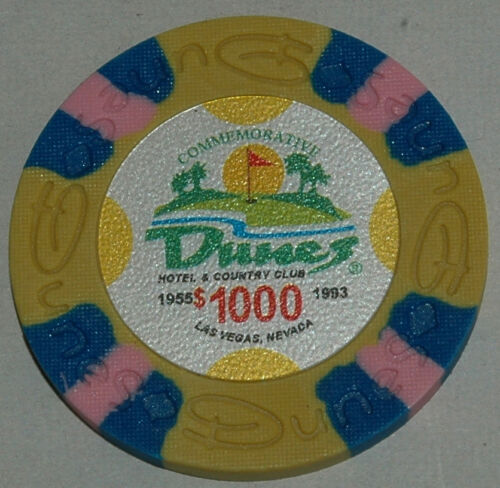 Obsoleted Las Vegas NV DUNES Casino 5x$1000 Commemorative Chip Uncirculated