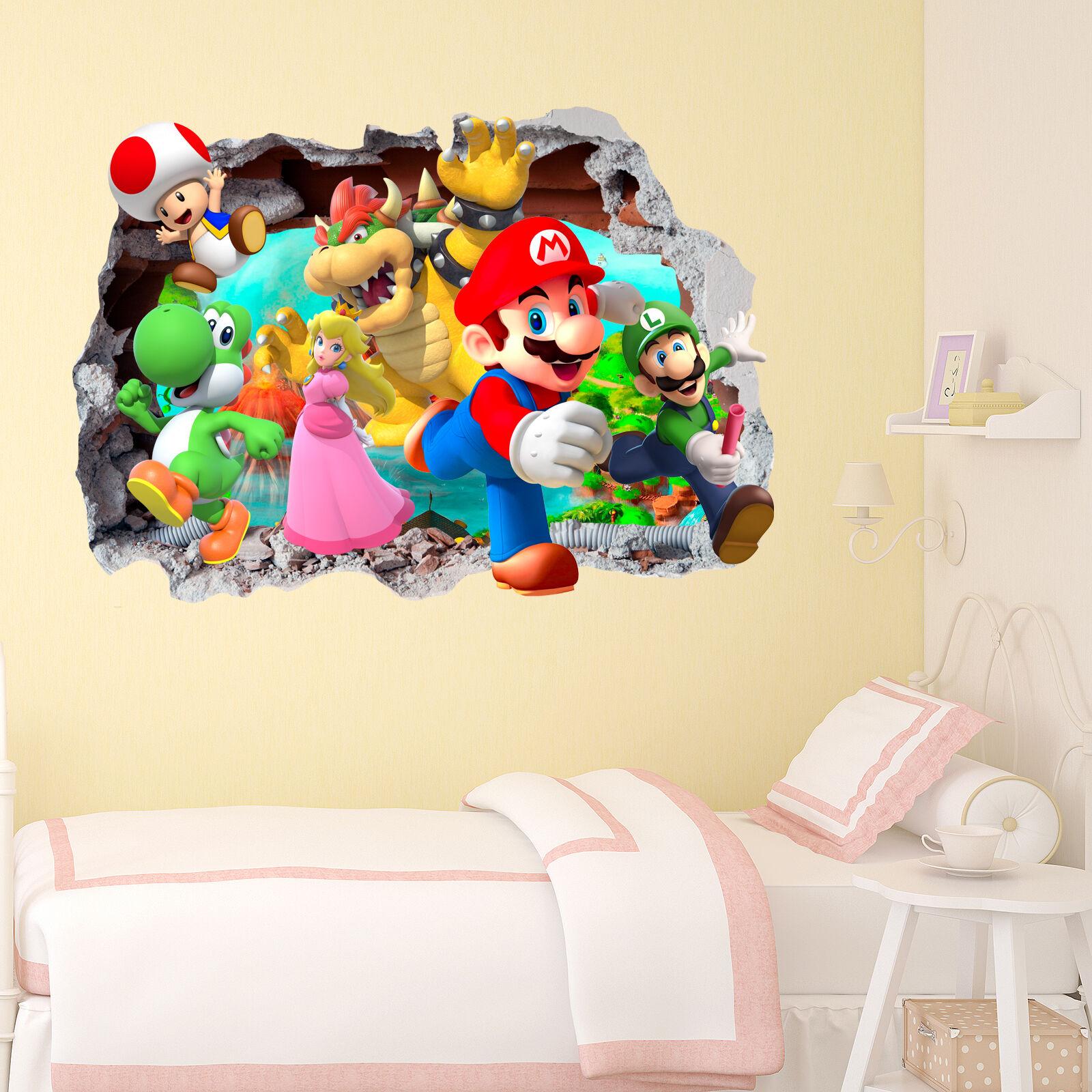 Mario Gang Smashed wall Crack Kids Boy Girls Bedroom Vinyl Decal ...