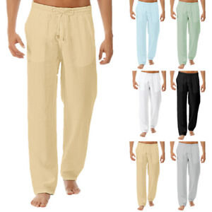 New-Fashion-Men-039-s-Cotton-Linen-Loose-Trousers-Casual-Beach-Long-Pants-Plus-Size