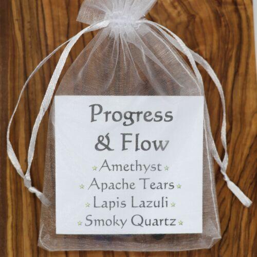 Progress /& Flow Crystal Gift Set Amethyst Apache Tears Lapis Lazuli Smoky Quartz