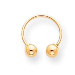 Image Is Loading 14k Yellow Gold Beaded Single Half Hoop Earring