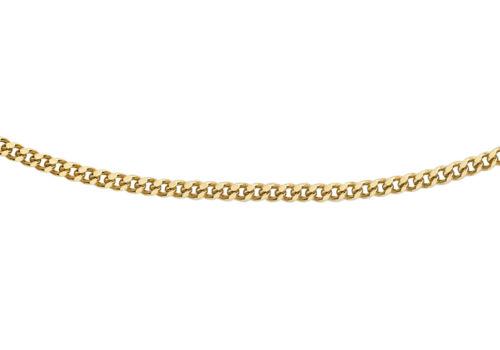 9ct Yellow Gold Diamond Cut Curb Chain Inc Luxury Gift Box 16 18 Inch 20PG
