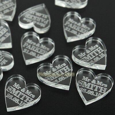Personalised Love Heart Wedding Table Centerpieces Mr & Mrs Decor Favor 100PCS