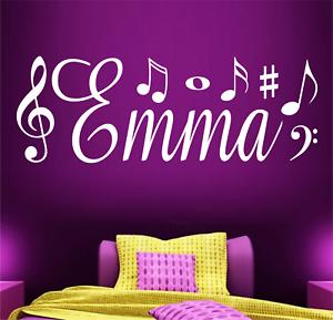 Dettagli su Nome Personalizzato Musica ragazze camera da letto Vinile Muro  ARTE Sticker Camera creativa- mostra il titolo originale