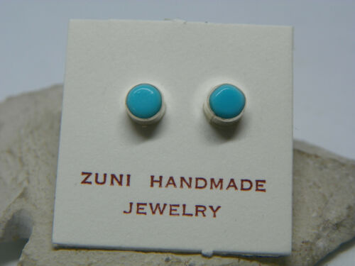 Zuni Sterling Silver Turquoise Post Stud Earrings by Fernina Malani