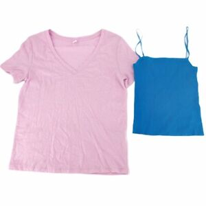 BP-Womens-Top-2-Lot-T-Shirt-Tank-Pink-Blue-Short-Sleeve-V-Neck-Stretch-XXS-New