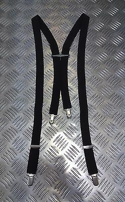 "RAF Black Clip On 1/"" Dress Uniform Elasticated Braces Suspenders One Size"