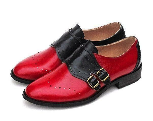 donna Girls Vintage Leather Monk Strap buckle Loafers oxford Flats Brogue sautope