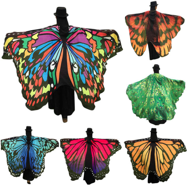 Womens Scarf Soft Fabric Butterfly Wings Fairy Nymph Pixie Costume Accessories
