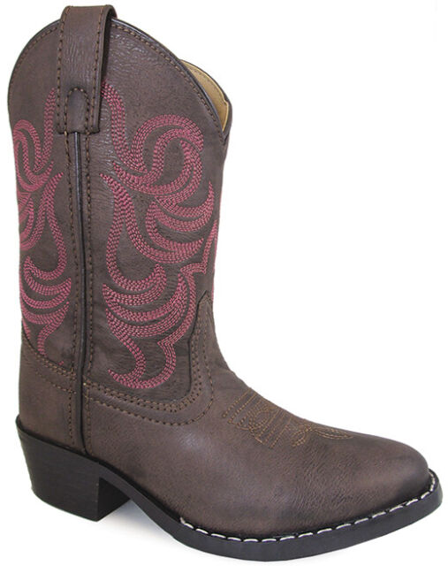 Smoky Mountain Girls Monterey Western Cowboy Boots Embroidery Leather Brown//Pink
