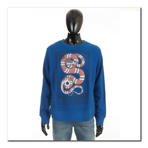 GUCCI-890-Authentic-New-Blue-Cotton-Sweatshirt-With-Kingsnake-Print