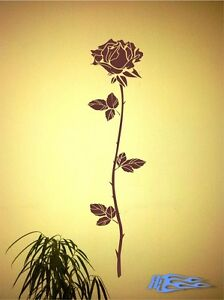 Wandtattoo-Rose-4-Pflanze-Blatter-Wandaufkleber-Blueten-Deko
