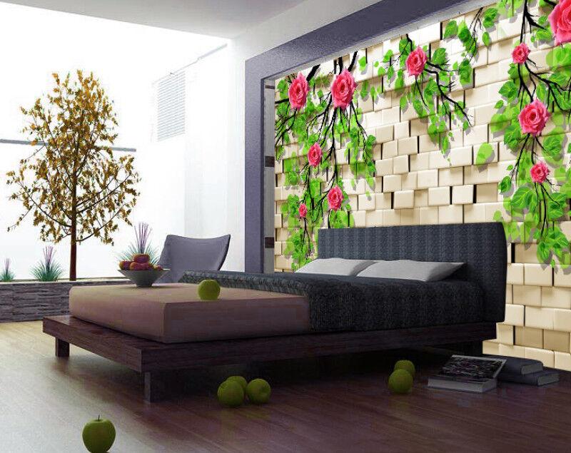 3D Rosa Grüne Rebe 84 Tapete Wandgemälde Tapete Tapeten Bild Familie DE   Praktisch Und Wirtschaftlich    Fein Verarbeitet    Einfach zu spielen, freies Leben