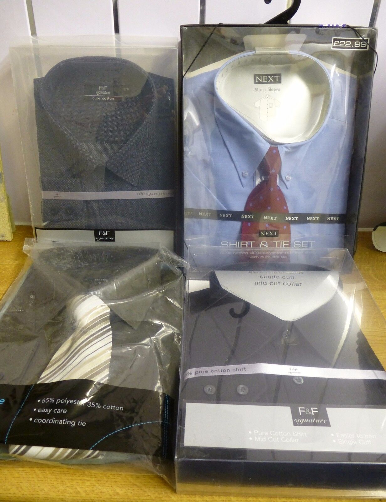 Fantastic Bundle Of 4x  Mens Long & Short Sleeved Shirts -18  + 18.5  NEW