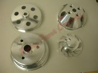 Serpentine Pulley Kit Chevy Sbc Long Wp Reverse Rotation Polished