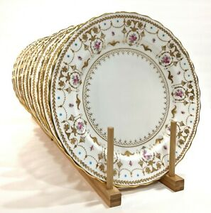 Antique-Royal-Doulton-Gilman-Collamore-Set-of-11-Neoclassical-Dinner-Plates-10-034