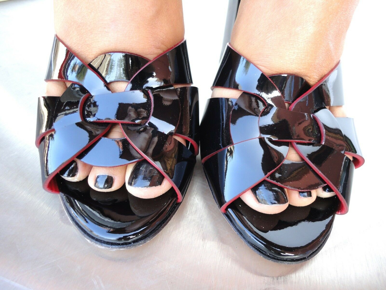 CQ COUTURE SANDALS BLACK CUSTOM SANDALI SANDALEN HEELS PATENT LEATHER BLACK SANDALS NERO 36 e4a3ae