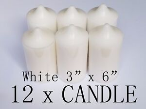 3-034-x-6-034-Unscented-Pillar-White-Candle-Wedding-Home-Decoration-Relaxation
