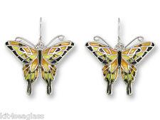 Zarah Zarlite Tiger Swallowtail BUTTERFLY EARRINGS Enamel Silver Dangle - Boxed