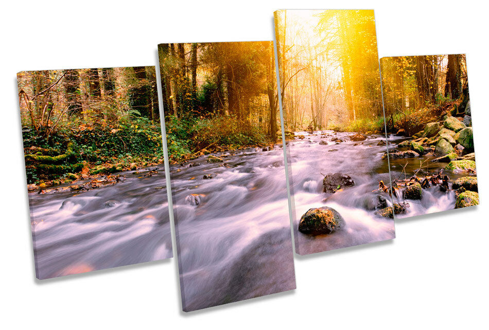 Forest River Gelb Gelb Gelb Sunset MULTI CANVAS WALL ART Print Picture 11b06f