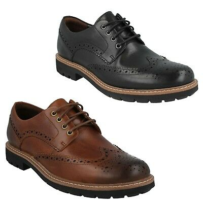 MENS CLARKS LACE UP LEATHER CASUAL FORMAL BROGUE SHOES BATCOMBE WING SIZE