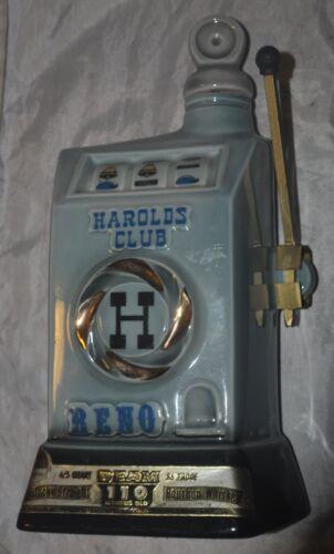 "EMPTY VINTAGE 1967 JIM BEAM /""HAROLDS CLUB RENO/"" CHINA WHISKEY DECANTER//BOTTLE"