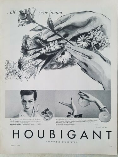 1956 Houbigant Quelques Fleurs perfume bottle hand lotion dispenser vintage ad