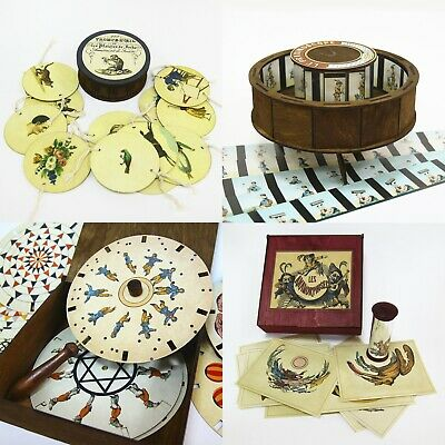 Set of 12 optical antique animation toys Thaumatrope The magic circle