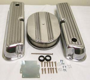 Ford-302-351W-Windsor-Retro-Finned-Aluminum-Valve-Covers-w-12-034-Air-Cleaner-Kit