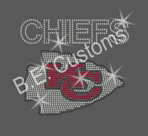 "Rhinestone Transfer /""KC Chiefs/"" Hotfix Bling Iron On"