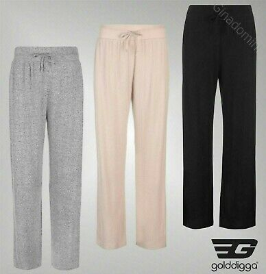 e9565c77b1c92a Details about Ladies Branded Golddigga Wide Leg Soft Fleece Relaxed Joggers  Pants Size 10-16